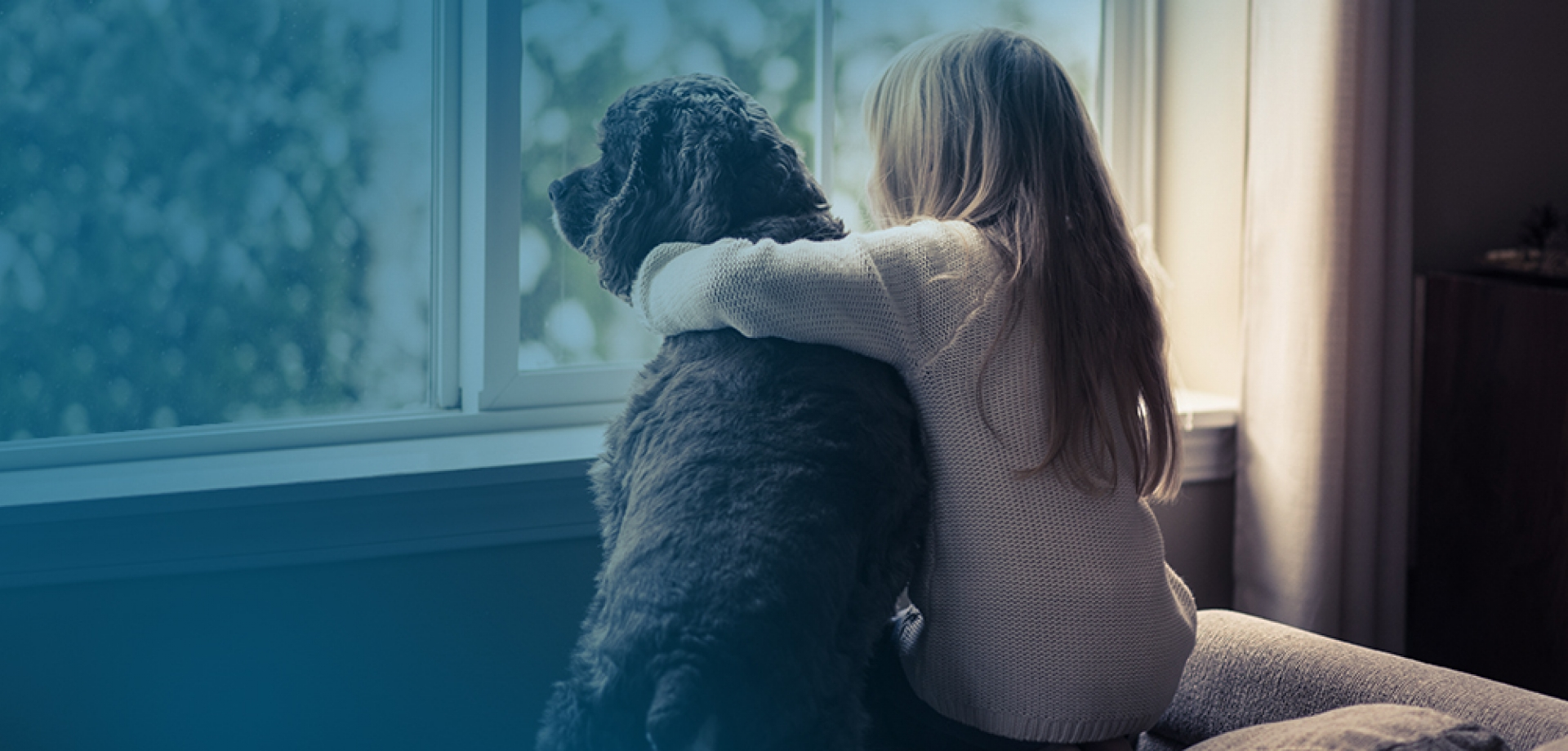 Girl and her dog looking out a window